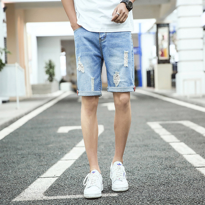 Summer With Holes Denim Shorts Men's Loose-Fit Thin Shorts Hong Kong Style Beggar Trend Large Size 5 Shorts Breeches