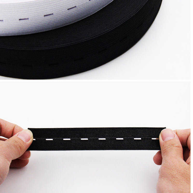 Button Hole Elastic Waist Band Woven Sewing Stretch Tape 15 mm wide