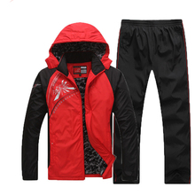 Mens Wear Thick New Sportswear Sets 5XL Outerwear Autumn Streetwear Two-piece Suite Casual Coat Leisure Patchwork MOOWNUC