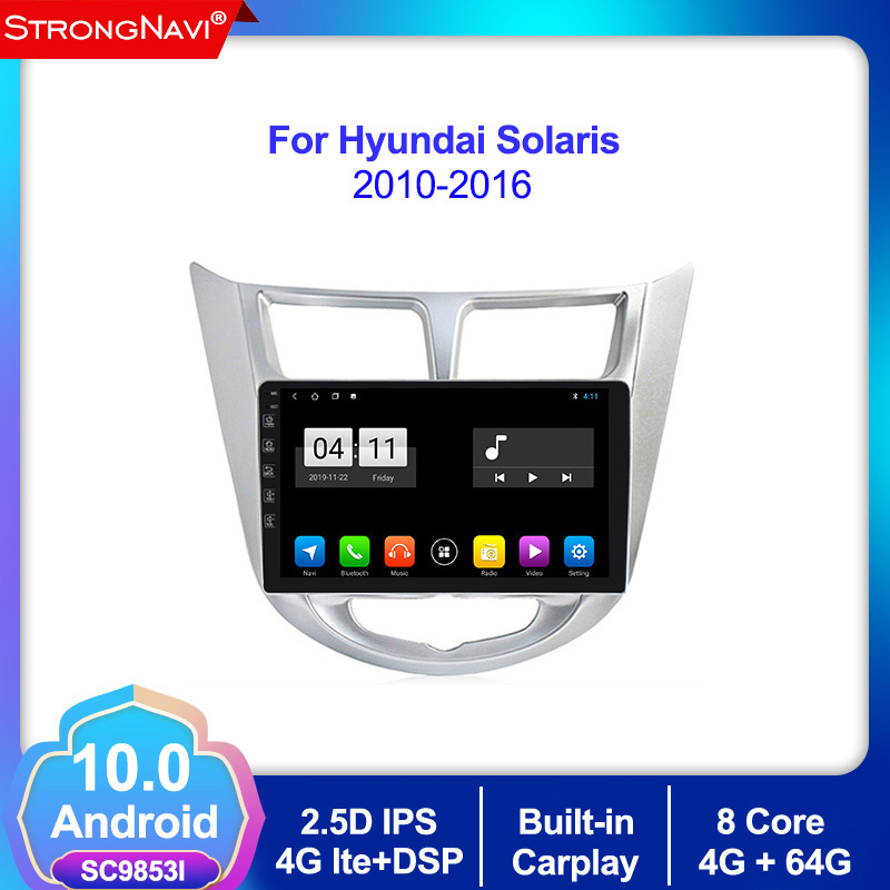 Android 10.0 4+64G 2 din Car Radio Multimedia For <font><b>Hyundai</b></font> Solaris 1 verna <font><b>Accent</b></font> 2010-2016 Video Player <font><b>GPS</b></font> Navigation DSP IPS image