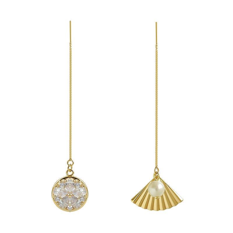 Pendientes Women Earring Long Dangle Tassel Gold Color Vintage Fan Round Asymmetry Geometry Aesthetics Luxury Bohemia Gift EF55