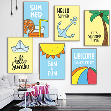 Wall Art Canvas Painting Summer Sun Anchor Posters And Prints Pictures Nordic Style Kids Decoration