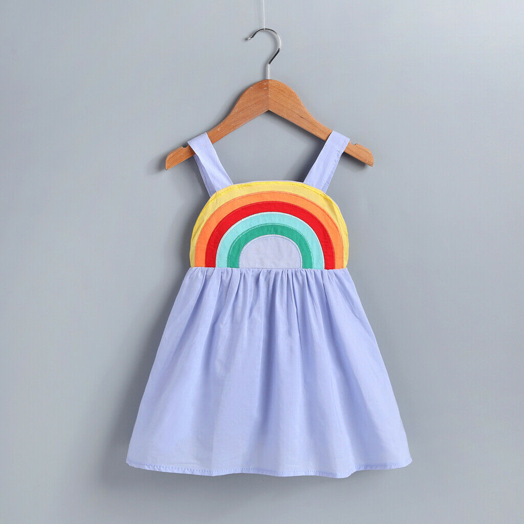 Toddler Kid Baby Girl Rainbow Casual Summer Dress Sundress Clothes 0-5T