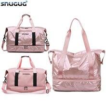 Bolsa de bagagem em nylon unissex, bolsa de ombro com bolso para viagem, fitness, seca, molhada, para homens e mulheres saco de esporte