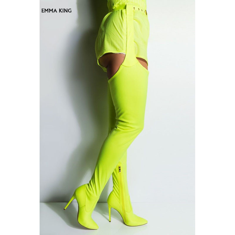 2019 Newest <font><b>Sexy</b></font> Neon Green Crotch High Boots Belted Thigh High Boots Stiletto <font><b>Chap</b></font> Boots Women Pointied Toe Over The Knee Boots image