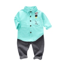 New Autumn Baby Boys Casual Long Sleeve Cartoon Print Shirt Blouse Tops+Stripe Pants Trouser Set