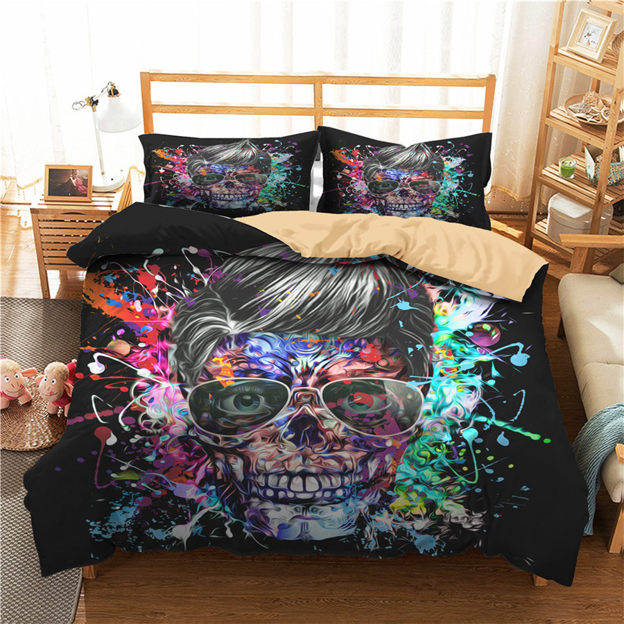 A Bedding Set 3D Printed Duvet Cover Bed Set Horror Skull Home Textiles For Adults Bedclothes With Pillowcase #KL51