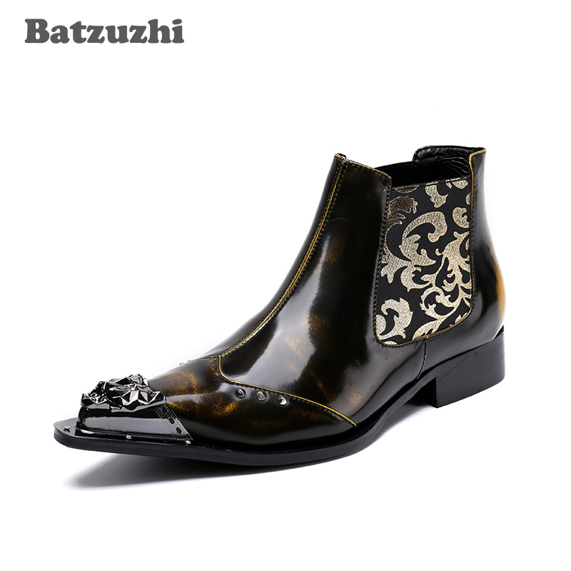 Batzuzhi 2018 Newest Italian Handmade Men Leather Boots Ankle Point Iron Toe Motocycle Boots Brown Men Dress Boots Botas Hombre