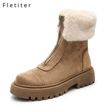 Fletiter 2019 Womens Ankle Boots platform snow boots for women Faux fur thick plush waterproof slip-resistant Warm winter shoes(China)