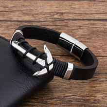 купить Fashion Multilayer Charm Genuine Leather Bracelet Men Hand Jewelry Braide punk Stainless Steel Magnet Anchor  Accessories в интернет-магазине