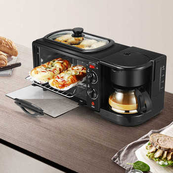 3 In 1 Breakfast Machine Multifunction Coffee Maker Egg Omelette Frying Pan Non Stick Grill Mini Bread Pizza Oven