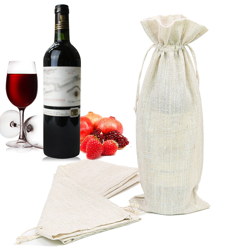 15 * 36Cm Imitation Linen Drawstring Gift Bag Gold Silk Sack Party Packaging Wedding Candy Wine Bag 3pcs