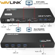 Wavlink Универсальная док-станция USB 3,0 USB-C двойной 4K Ultra Dock DP Gen1 type-C Gigabit Ethernet Расширенный и зеркальный режим видео