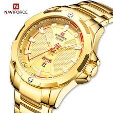 NAVIFORCE moda militarna złoty zegarek mężczyźni luksusowy zegarek kwarcowy Sport zegar Wateproof zegarki Relogio Masculino 2019