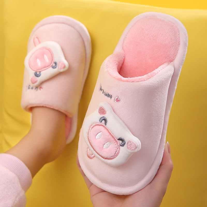 2019 г., новые детские милые плюшевые домашние тапочки из флока для мальчиков и девочек хлопковая обувь детские домашние тапочки