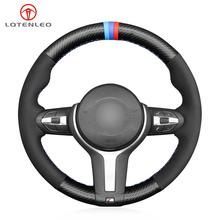 LQTENLEO czarne zamszowe kierownica z włókna węglowego pokrowiec na BMW (M Sport) serii 2 F22 F23 F45 F46 X4 F26 X5 F15 X6 F16 2014-2019 tanie tanio CN (pochodzenie) Górna Warstwa Skóry Kierownice i piasty kierownicy 0 22kg Four Seasons General 16cm for BMW (M Sport) 2 Series F22 F23 F45 F46 X4 F26 X5 F15 X6 F16 2014-2