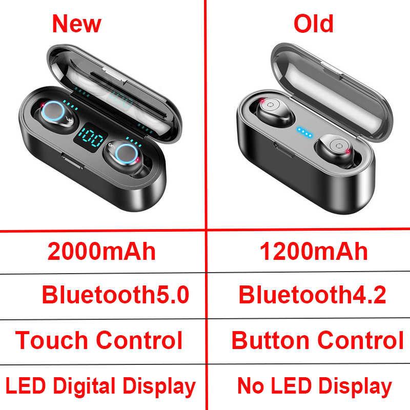 Новые Bluetooth V5.0 наушники беспроводные наушники 8D стерео Спортивные Беспроводные наушники мини наушники гарнитура с двойным микрофоном 2000 мАч