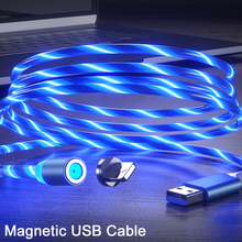 Magnetic LED Flowing USB Bright Cable Micro usb Type C Glowing Lighting Cables For iPhone Xiaomi huawei 1M Luminous Charger Cord