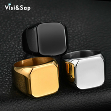 Visisap European American Men Square Rings Stainless Steel Simple Smooth Ring Size 7-13 Dropshipping Gold Color Jewelry S-R181 visisap titanium steel wide men ring size 7 14 dropshipping yellow black steel gold color rings for birthday gifts jewelry s r35