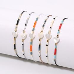 Rttooas Simple Tiny Bracelet Handmade Miyuki Delica Seed Beads Women Bracelets Heart Shell Friendship Jewelry Femme Bracelet