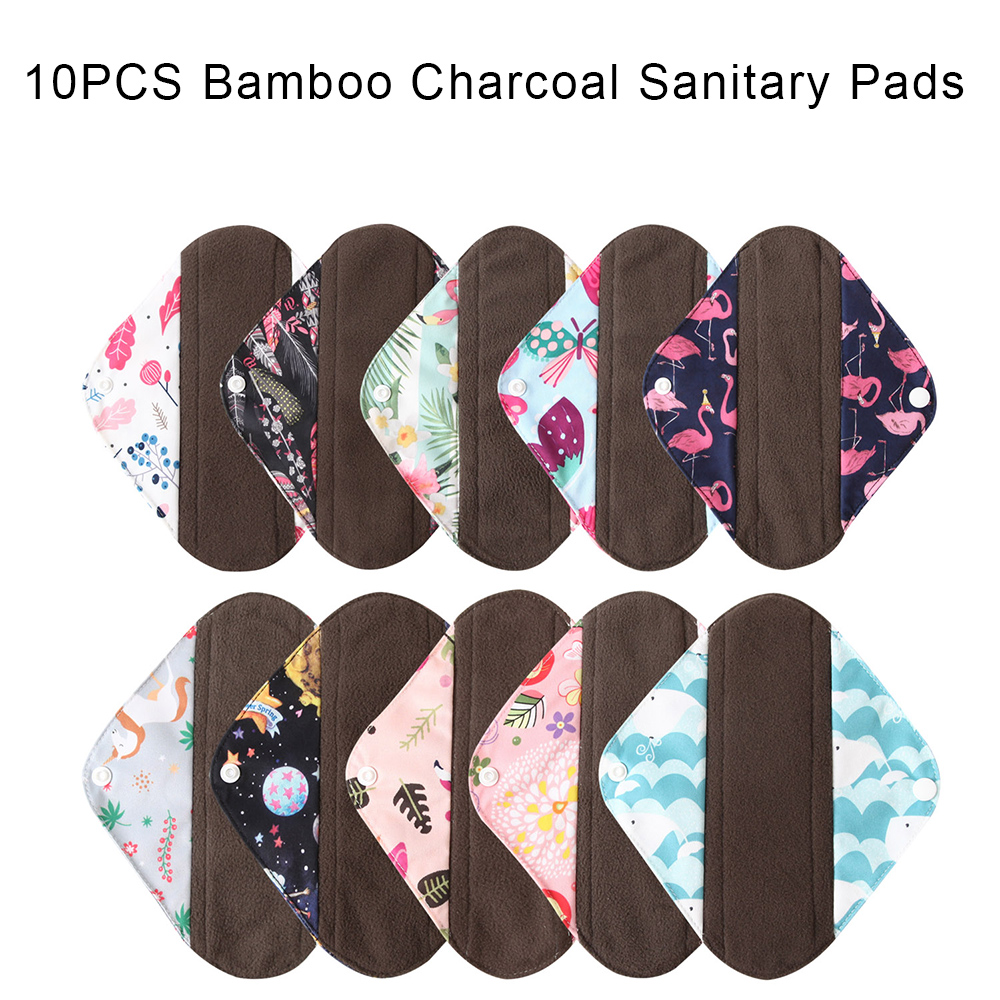 10PCS Mixed Colors Sanitary Pads 2020 Ohbaby New Absorbent Women Cloth Sanitary Napkin Charcoal Bamboo Cloth Pads Sanitary Towel