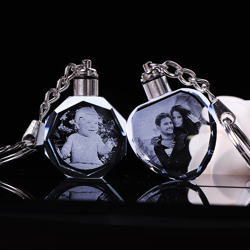 Custom K9 Crystal Key Chain Personalized Photo Pendant Picture Key Ring Trinket Laser Engraved LED Light