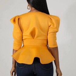 Women Scuba Bowtie Peplum Blouse Shirts Half Sleeve Sexy V Neck Tops Elegant Office Ladies Workwear Streetwear 4