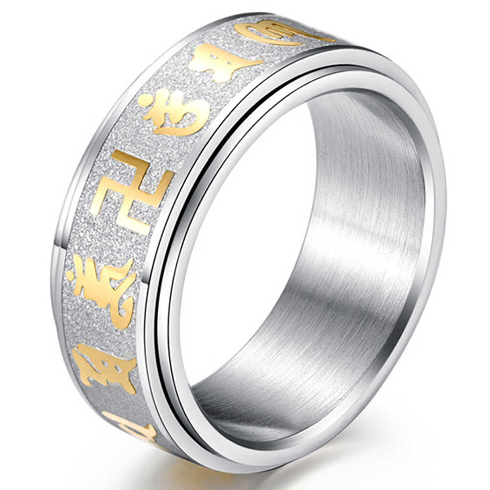 Vintage Swastika Symbol Mantra Men S Rings Jewelry Titanium Steel