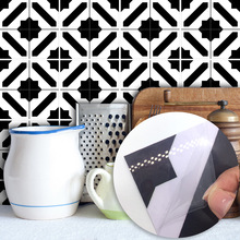 Funlife Black and White Moroccan Style Tile Stickers Bedroom Living Room Kitchen Waterproof Wall Decor