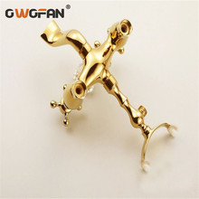 Shower Faucets Golden Bathroom Bathtub Faucet Brass Wall Mounted Telephone Style Shower Cabin Washing Machine Mixer Tap HJ-5018K golden rainfall shower faucets set brass wall mounted shower with hand shower mixer for bathroom