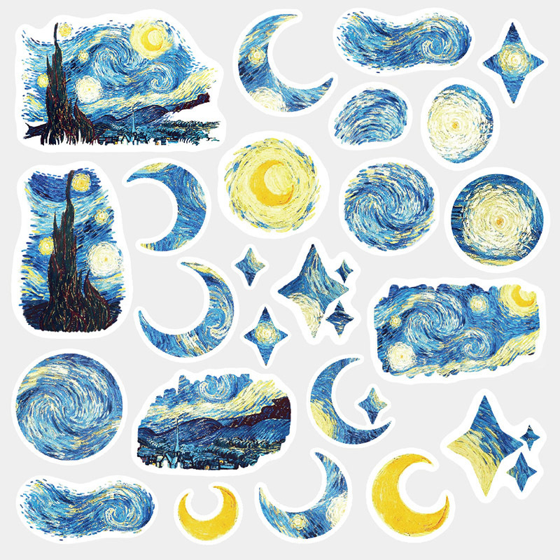 Cute Van Gogh Oil Painting Journal Decorative Washi Stickers Scrapbooking Stick Label Diary Statione