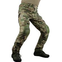 Zuoxiangru erkek Multicam taktik pantolon çok cepler askeri Camo açık Airsoft savaş av pantolonu diz pedleri ile