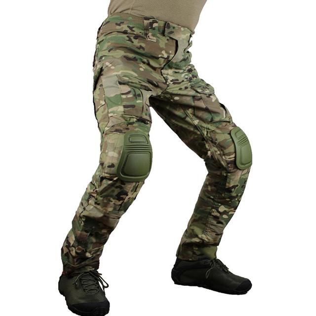 zuoxiangru Mens Multicam Tactical Pants Multi Pockets Military Camo Outdoor Airsoft Combat Hunting Pants with Knee Pads