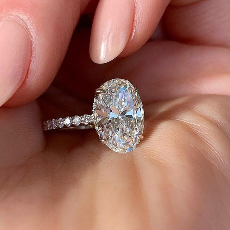 Anillo brillante para mujer, sortija de boda deslumbrante con zirconio ovalado de piedra, regalo de San Valentín, joyería KCR136