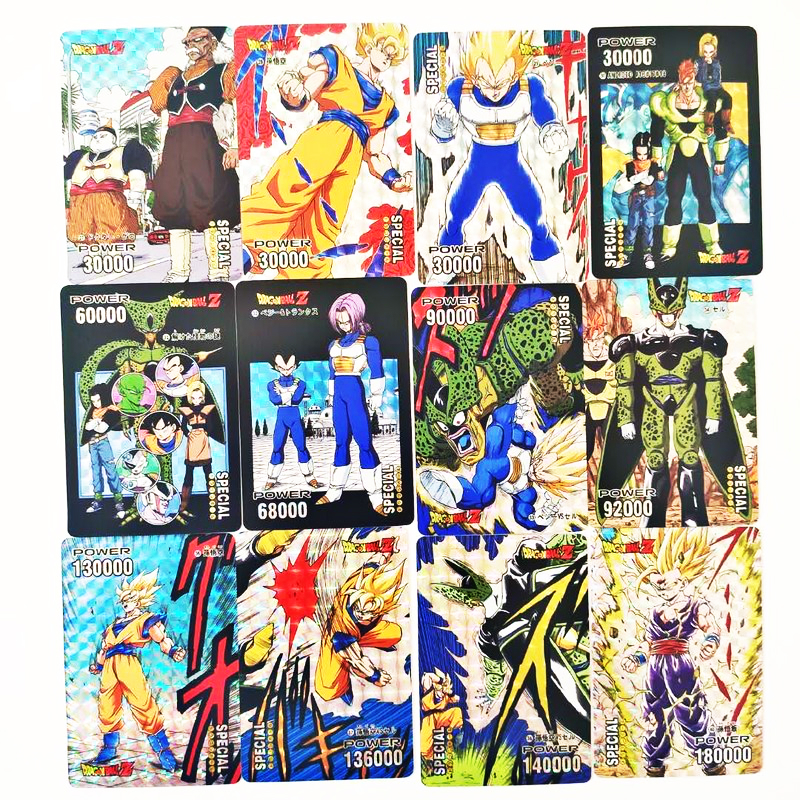 55pcs/set Dragon Ball Z Super Saiyan Goku Cartoon Game Action Toy Figures Commemorative Edition Collection Cards Free Shipping