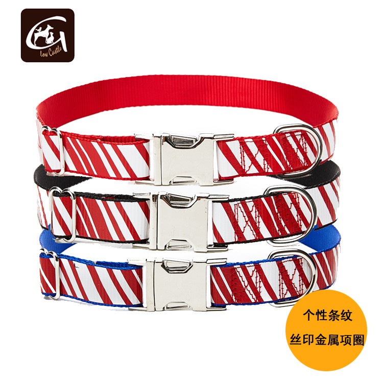 19 Years Dog Neck Ring Personalized Environmentally Friendly Screen Printing Stripes Nylon Metal Buckle-Carving Screen Printing