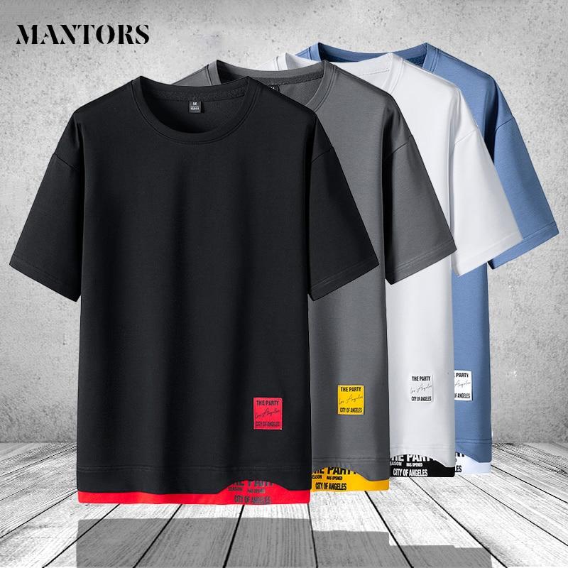 Футболка мужская оверсайз с круглым вырезом, брендовая модная Однотонная рубашка с коротким рукавом, уличная одежда, 3XL, 4XL