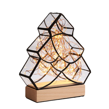 Nordic Christmas Tree LED Table Bedside Lamp Small Night Light Tree Silver Flower  Creative Birthday Gift Table Light