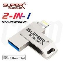 Pen drive USB para iOS, pen drive USB para iPhone 6/6s/6Plus/7/7Plus/8/X pen drive 2 em 1 Usb/Otg/alta velocidade para aparelhos de armazenamento externos iOS