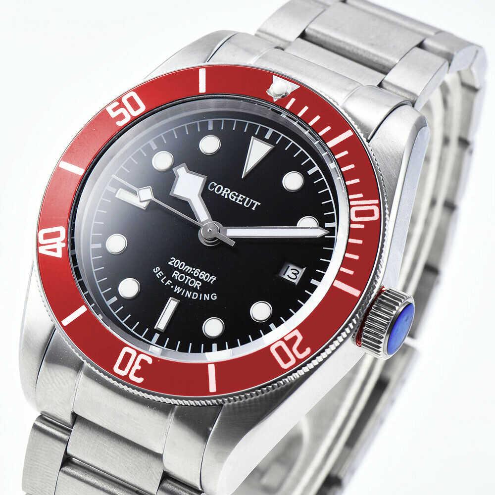 41 millimetri fashtion mens Gabbiano/Miyota automatico meccanico orologi da polso in acciaio rosso vetro zaffiro lunetta calendario orologi da uomo