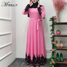 MISSJOY Pink Dresses Women Fashion Long Sleeve Patchwork prayer Dubai abaya Turkish Islam Maxi dress Muslime kleid Arab clothing