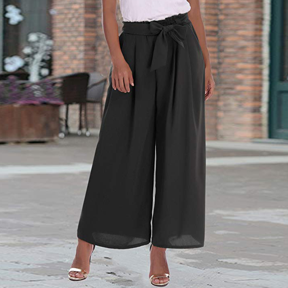 Women Fashion New Loose Wide Leg High Waist Solid Daily Girls Ladies Casual Crop Pants Summer Loose Culottes Trousers