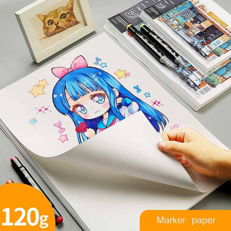 Marker Paper A3/A4/A5 120g Painting Paper Beginner Drawing Design Paper Student Hand Copy Graffiti Adult Painting Art Supplies