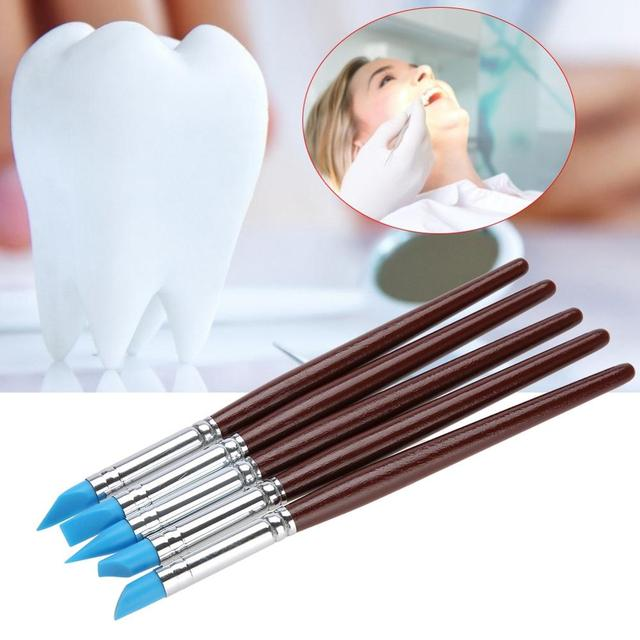 5pcs Resin Porcelain Teeth Shaping Pen Dental Silicone Composite Sculpture Carving Tooth Tools For Adhesive Composite Cement