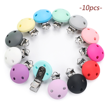 TYRY.HU 10pc Roud Pacifier Dummy Teether Chain Holder Clips BPA Free Baby Nursing Safe Toys Accessories DIY Pacifier Clips