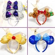 Mickey Minnie Ear Headband Disney New Peter Pan Big Sequin Bows EARS COSTUME Headband Cosplay Plush Adult Kids Headband