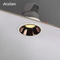 Aisilan Round Black Recessed LED Nordic Downlight Built in LED Narrow Border Design Spot light 7W for Indoor Lighting AC90 260V