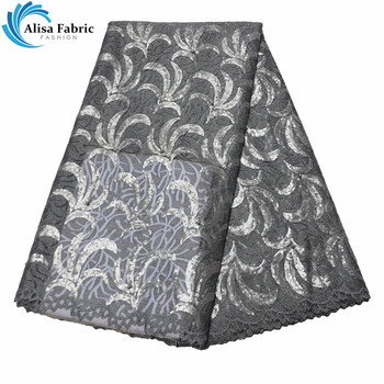 Silver Design African Lace Fabrics Embroidery French Tulle Lace Fabrics With Embroidery And Sequins For Dress Tailor Material