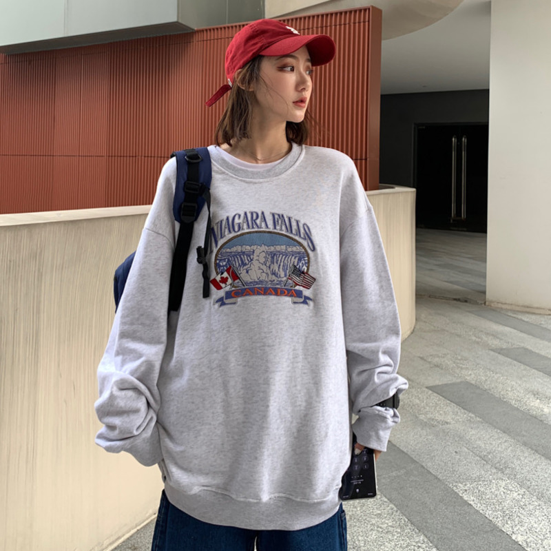 2020 Spring And Autumn New Korean Couple Pattern Embroidery Loose Sweatshirt Fashion Casual Stitching Pullover Gray / Navy Blue