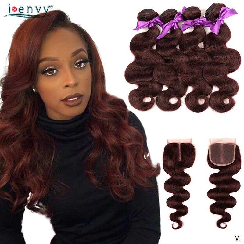 I Envy Burgundy Body Wave 4 Bundles With Closure 99J Red Brazilian Human Hair Bundles Pre Colored Bundles With Closure Non-Remy